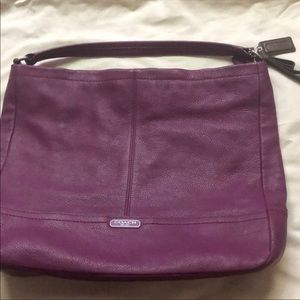 Coach purse purple tote with longer strap like new